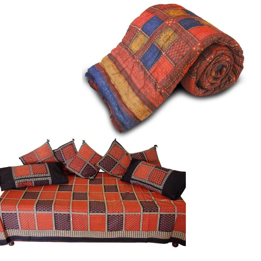 Little India Jaipuri Single Bed Razai Quilt n Dewan Set Combo 341
