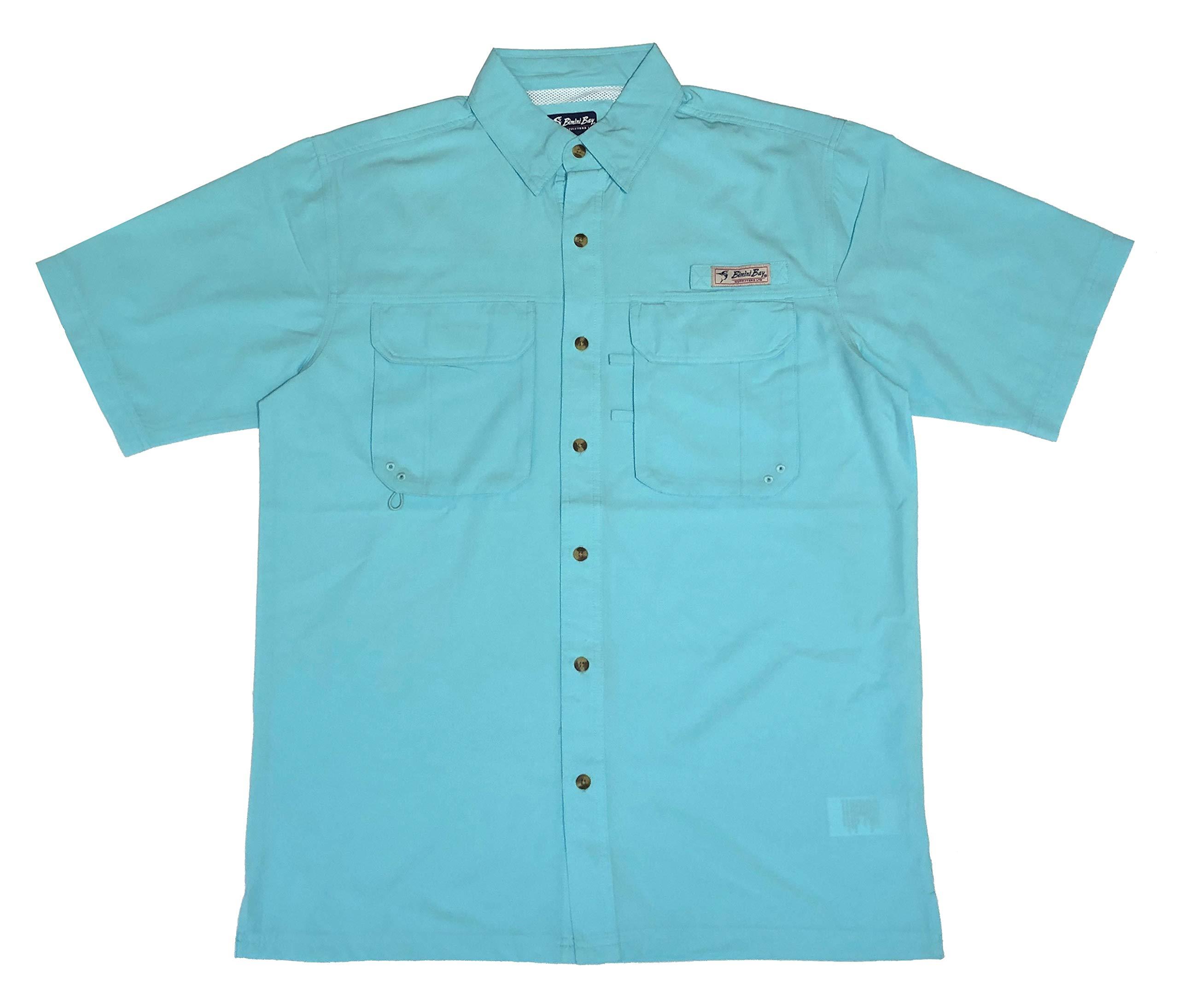Bimini Bay Outfitters Men's Bimini Flats IV with BloodGuard Quick Dri Short Sleeve Shirt (2-Pack) (Aqua, X-Large) by Bimini Bay Outfitters