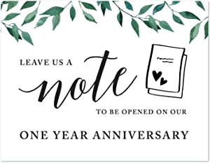Andaz Press Wedding Party Signs, Natural Greenery Green Leaves, 8.5x11-inch, Time Capsule Leave Us A Note with Your Predictions, Advice and Wishes, to Be Opened On Our One Year Anniversary, 1-Pack