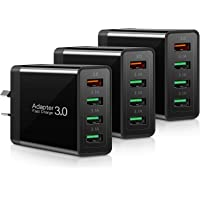usb wall charger qc 4 port, quick charge 3.0 18W 【3 pack】AU Plug, rapid travel portable fast charging wall adapter 3.1a…