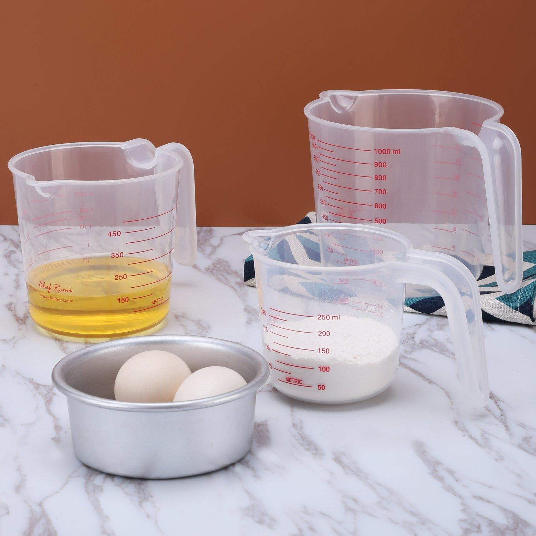 Juego de jarras medidoras de plástico, multifunción (capacidad para 4tazas, 2tazas y 1taza), sin BPA, tazas de medición con agarre en ángulo, básicos para repostería