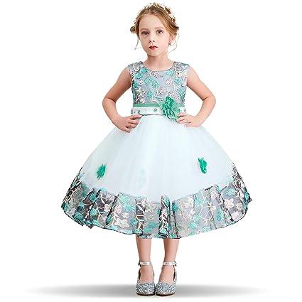 NNJXD Mädchen Tutu Blütenblätter Schleife Brautkleid für Kleinkind Mädchen