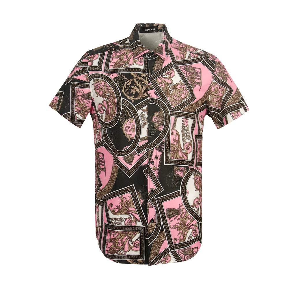 UPAAN Mens Short Sleeve Luxury Design Print Dress Shirt Button Down Slim Fit Shirts Pink by UPAAN