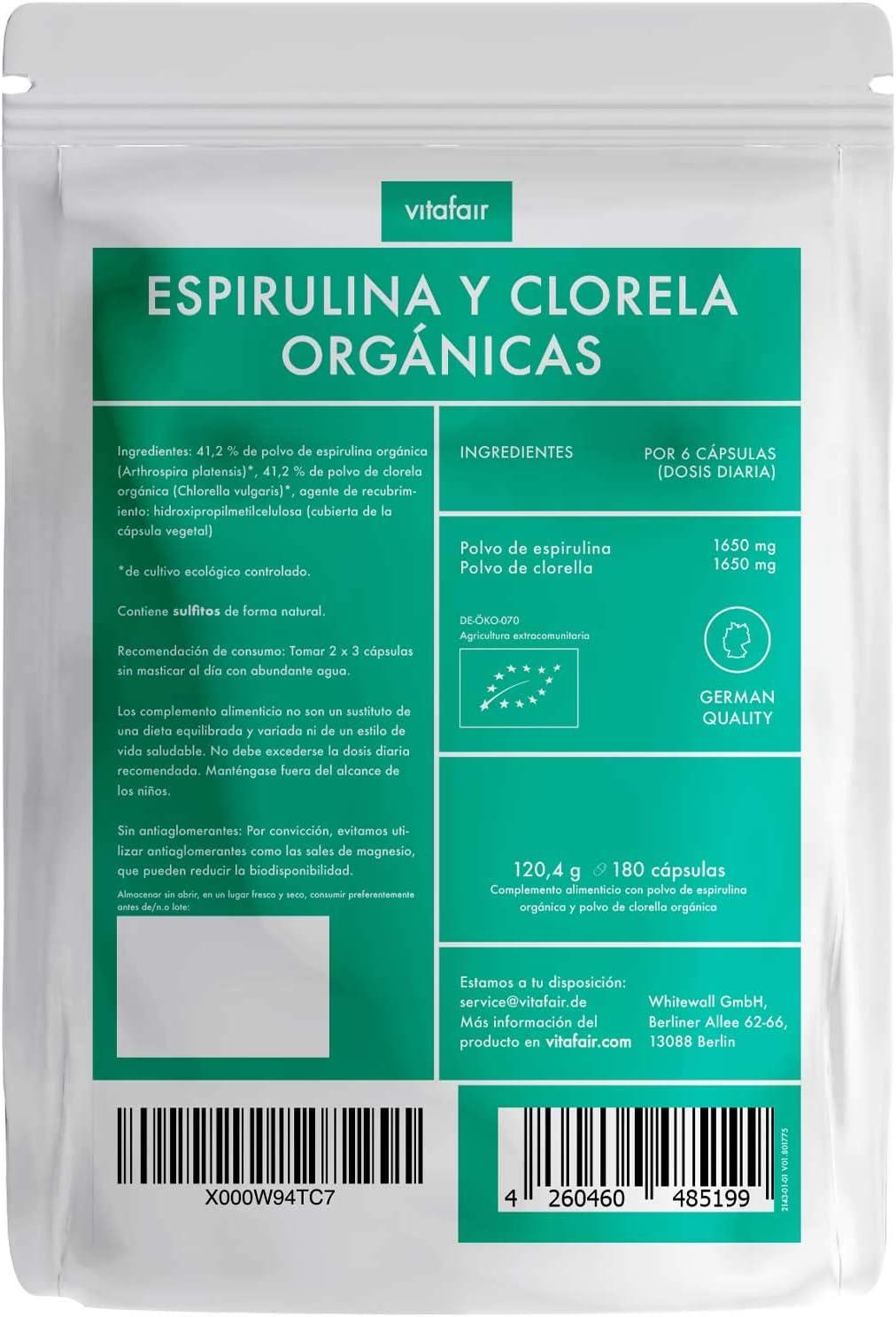 Chlorella & Spirulina orgánica y ecológica - 3300mg por porción - 180 cápsulas - 100% puro - Vegano - Máxima biodisponibilidad - Calidad Alemana