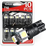 194 LED Light bulb, Yorkim® 6th Generation, Non-Polarity,12V Lights for 168, 2825,T10 5-SMD LED Bulb (Pack of 10)