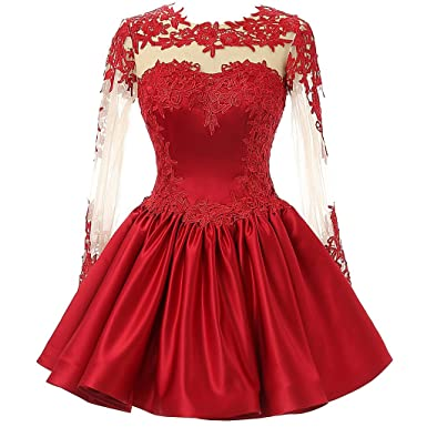 CuteShe Womens Short Lace Homecoming Prom Dresses with Long Sleeves