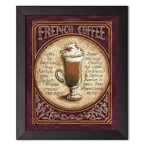 Amazon.com: Enmarcado francés café – elegante cerveza Ad ...