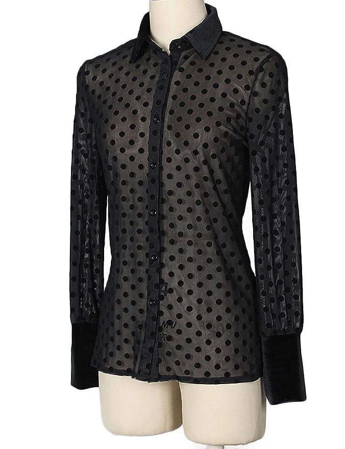 b8f08a57 Angsuttc Women's Sheer Button Down Shirt See Through Polka Dot Long Sleeve  Blouse Top at Amazon Women's Clothing store: