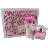 Versace 3 Piece Bright Crystal with 3.0 Ounce Eau de Toilette Gift Set for Women
