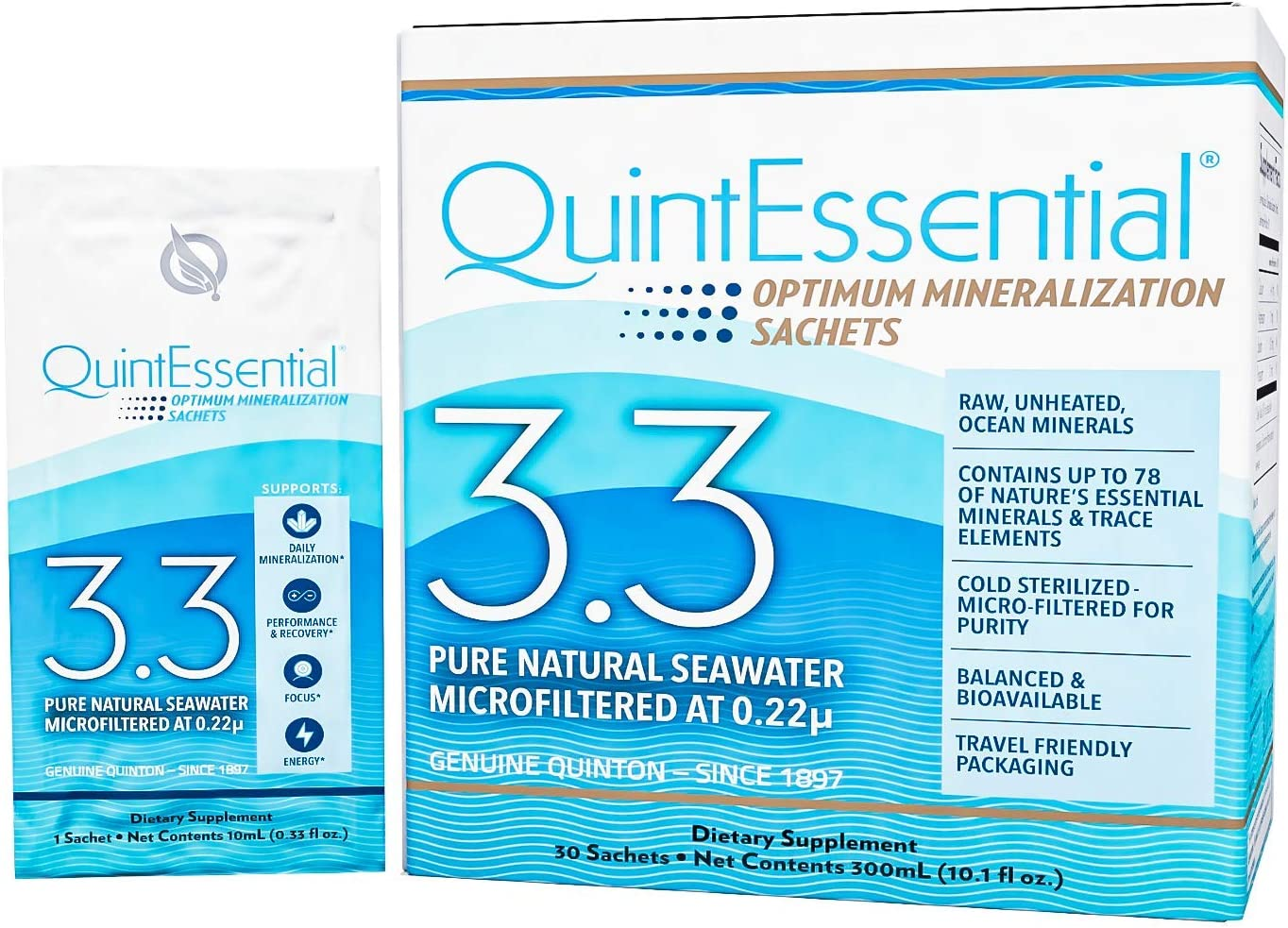QuintEssential 3.3 - Seawater Electrolyte Liquid Minerals Supplement for Hydration, Muscle Recovery + Energy Support - Liquid Trace Minerals Electrolyte Drink (30 Sachets)