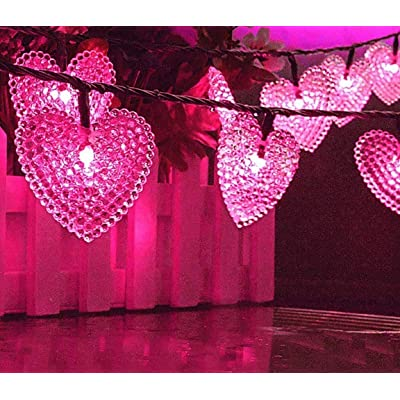 LAFEINA Solar Powered String Lights, 20ft 30 LED Solar Heart-Shaped String Lights Waterproof Ambiance Lighting for Outdoor Patio Garden Christmas Wedding Party Decoration (Pink) : Garden & Outdoor