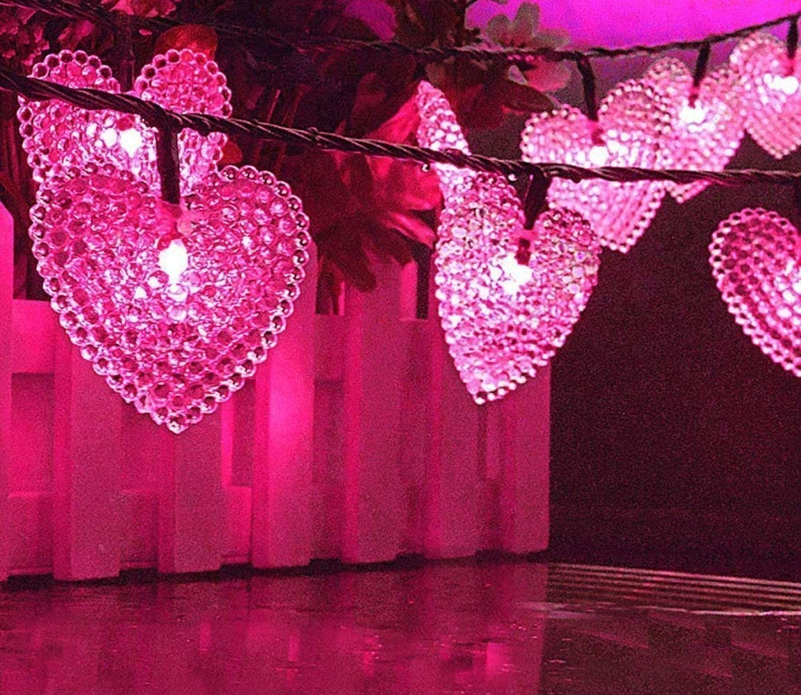 LAFEINA Solar Powered String Lights, 20ft 30 LED Solar Heart-Shaped String Lights Waterproof Ambiance Lighting for Outdoor Patio Garden Christmas Wedding Party Decoration Pink