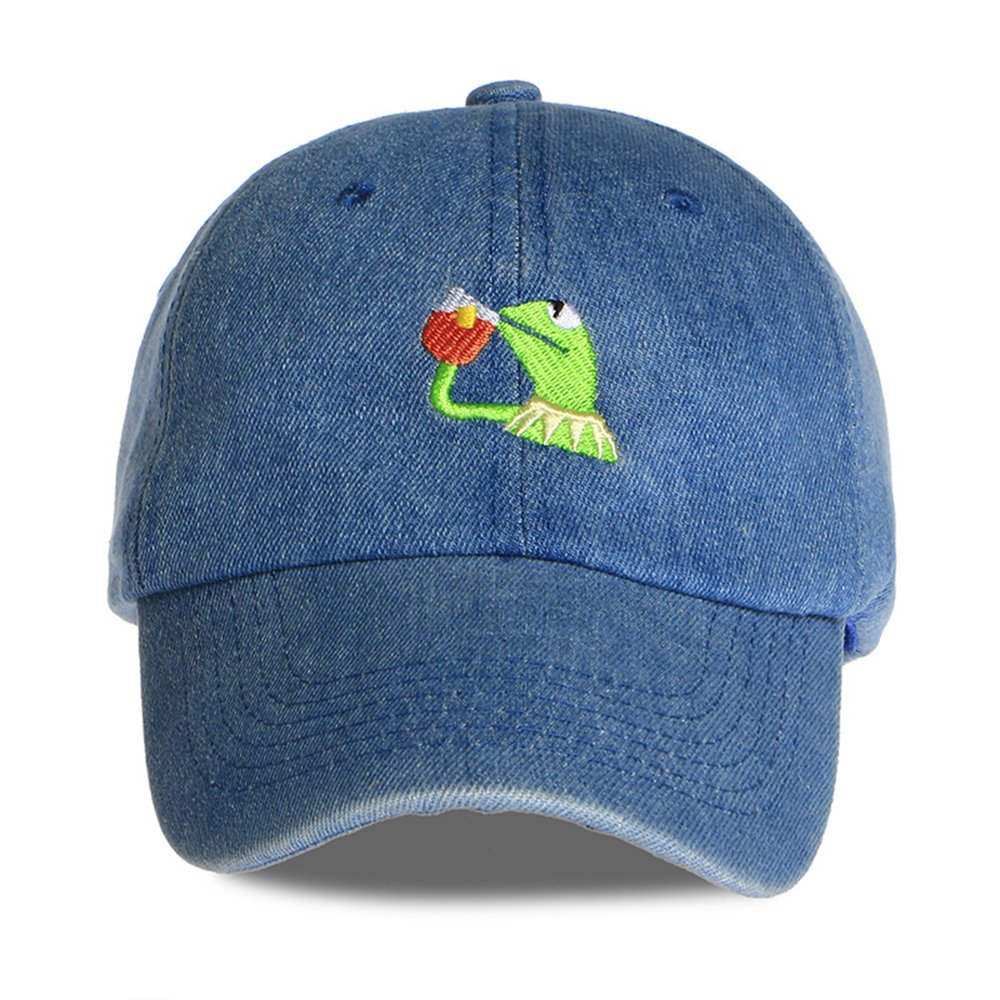 7fb309dfb04 Kermit The Frog Dad Hat Cap Sipping Sips Drinking Tea Champion Lebron  Costume (Denim) Adjustable Strapback at Amazon Men s Clothing store