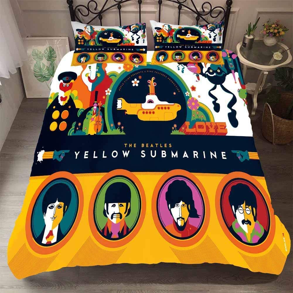 shirlyhome Duvet Cover Sets 3D The Beatles Printed 3 Piece Set Bedding 100% Microfiber Used for Gift,1 Duvet Cover + 2 Pillowcases A-Full(200x229cm) by shirlyhome