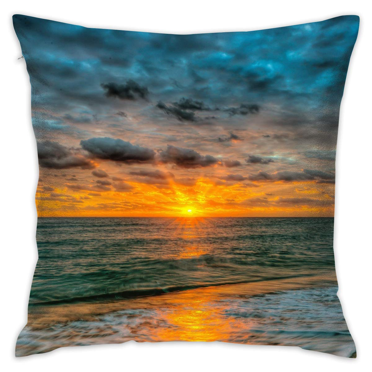 Linxher Beach Sunset Ocean Waves Decorative Pillow for Home Office Living Room Sofa Home Decor 16 X 16 Inch