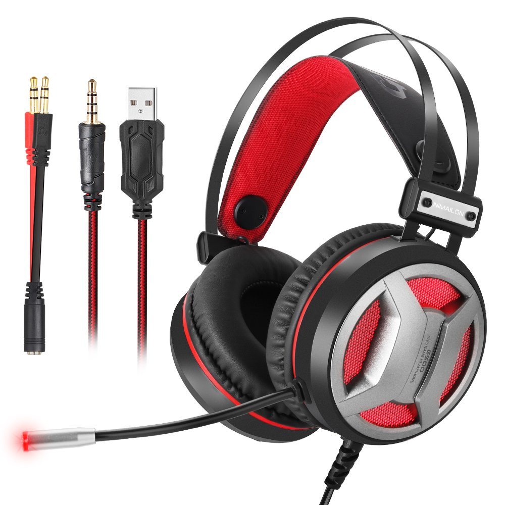 Gaming Headset PC Gaming Headphones for PS4 Xbox One, 3 5mm Newest 4D Super  Bass Stereo for Laptop, Nintendo Switch (Audio) LED Lights &