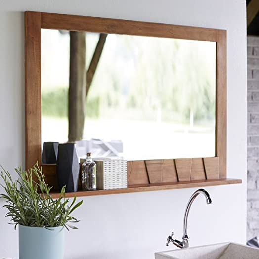 Solid Teak Bathroom Mirror With Shelf Attached Hand Carved 100x70 New  Tikamoon