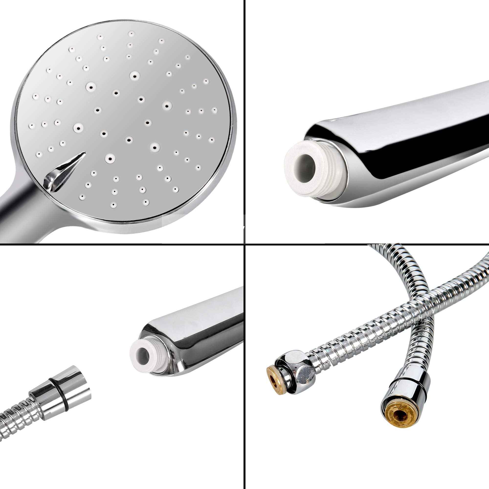 Bathroom Shower Head Kit with 1.5M Stainless Steel Shower Hose, Handheld 3 Spray Water Flow Options Adjustable Head Set, Water Saving Mode, Full Chrome