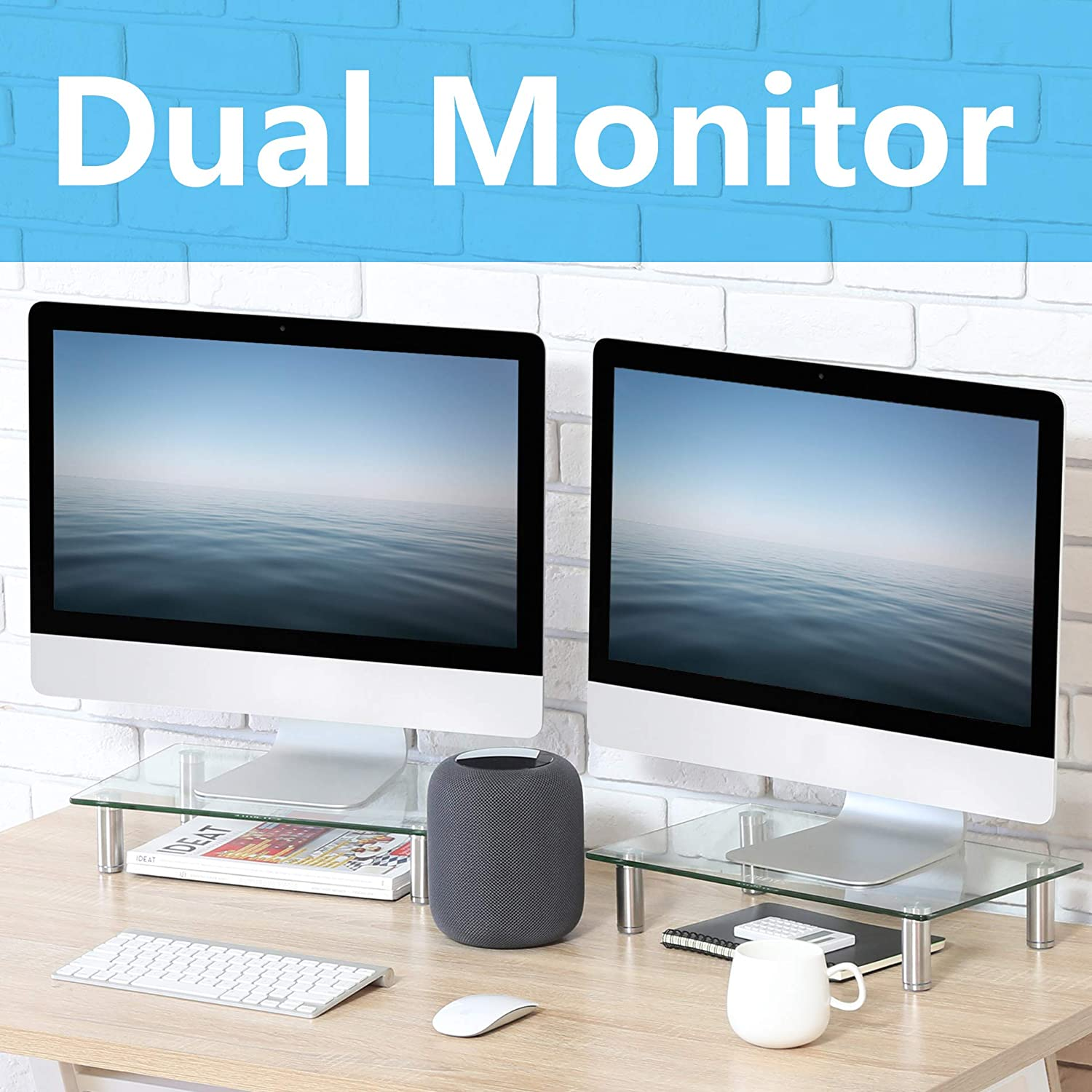 Fitueyes 2 PCS Computer Monitor Stand Desk Table Glass Shelf Laptop Riser Desk