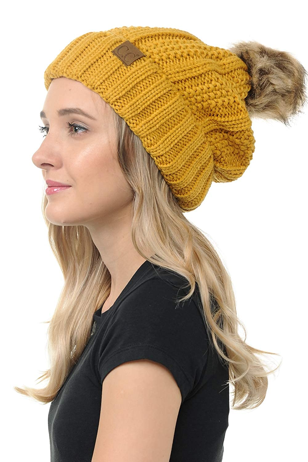 Thick Beanie Hats for Women /& Men Mustard BYSUMMER C.C Cable Knit Beanie with Faux Fur Pom Soft Warm