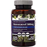 ResVitale Resveratrol 500mg - Anti Aging Skin Care Antioxidants Supplement for Heart Health & Daily Immune Support - Natural
