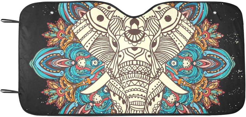 Sombra ventana Mandala Estilo geom/étrico Elefante Visera solar Ajuste universal Mantener veh/ículo Reflector calor fresco Sedanes Camioneta todoterreno 55 x30 Cubierta parasol parabrisas autom/óvil