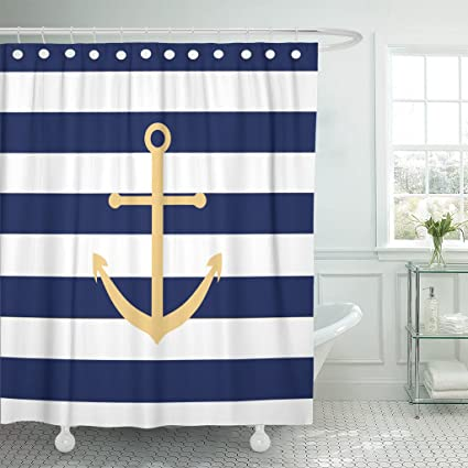 Accrocn Waterproof Shower Curtain Curtains Fabric Navy Blue And Yellow Anchor 36x72 Inches Decorative Bathroom Odorless