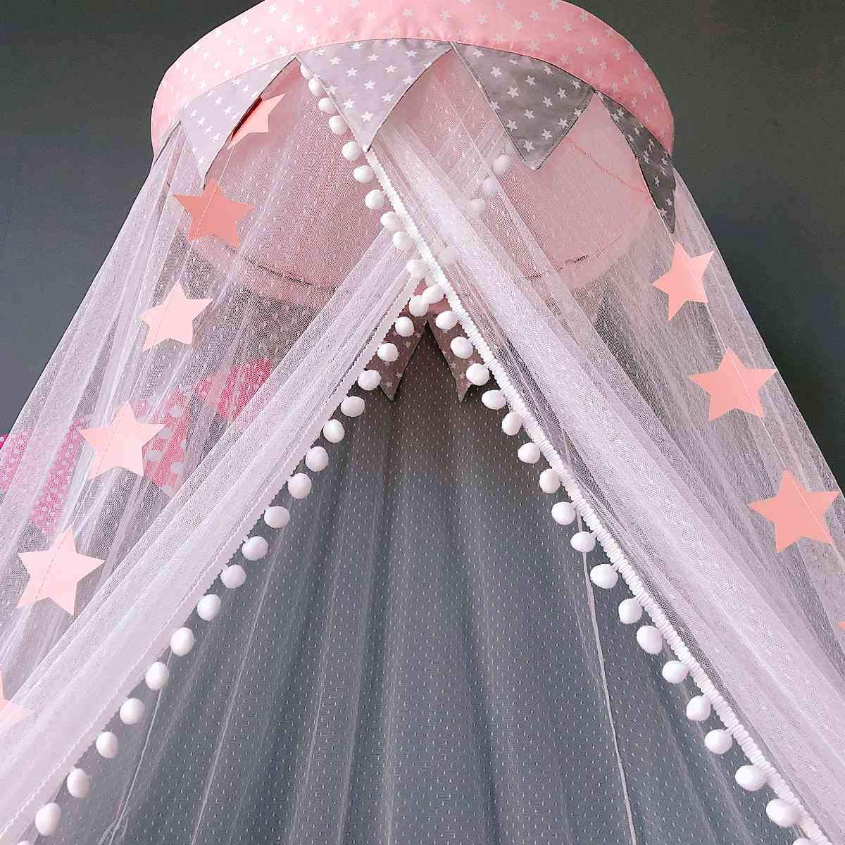 Dix-Rainbow Bed Canopy Mosquito Net Baby Crib Kids Twin Full Queen Size Bed, Reading Nook for Girls and Boys, Princess Lace Round Dome Fairy Netting Curtains, Kids Play Tent Castle Games House - Pink by Dix-Rainbow (Image #8)