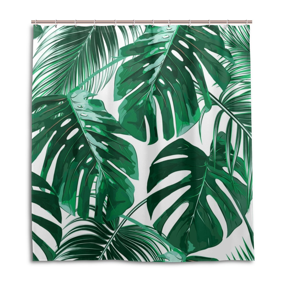 WellLee Fashion Custom Tropical Palm Leaves Jungle Shower Curtain Waterproof Fabric Bathroom Decor 66 x 72 inch with Hooks YL-66X72-001