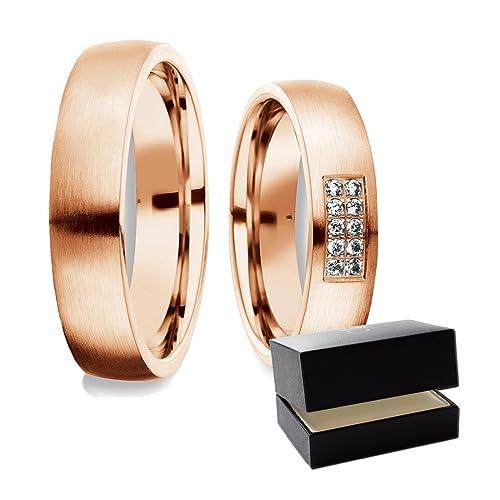 Amistad Anillos Partner Swarovski Circonita * Incluye Estuche de lujo, rojo (dorados de oro