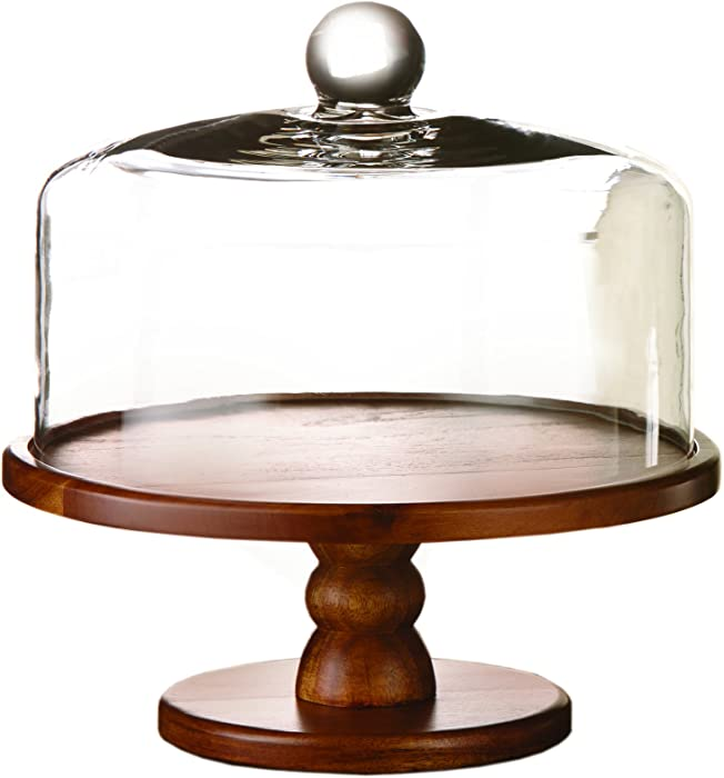 American Atelier , Brown Madera Pedestal Plate with Lid – Domed Serving Cake Stand – for Cupcakes, Pies, Veggie Platter, Desserts & Chip and Dip