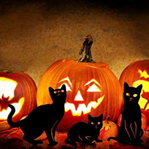 YEAHOME Metal Cat Decorative Garden Stakes, Black Cat Silhouette Halloween Yard Stakes Garden Decor Outdoor Statues with Reflective Eyes Halloween Cat Decorations Set of 3