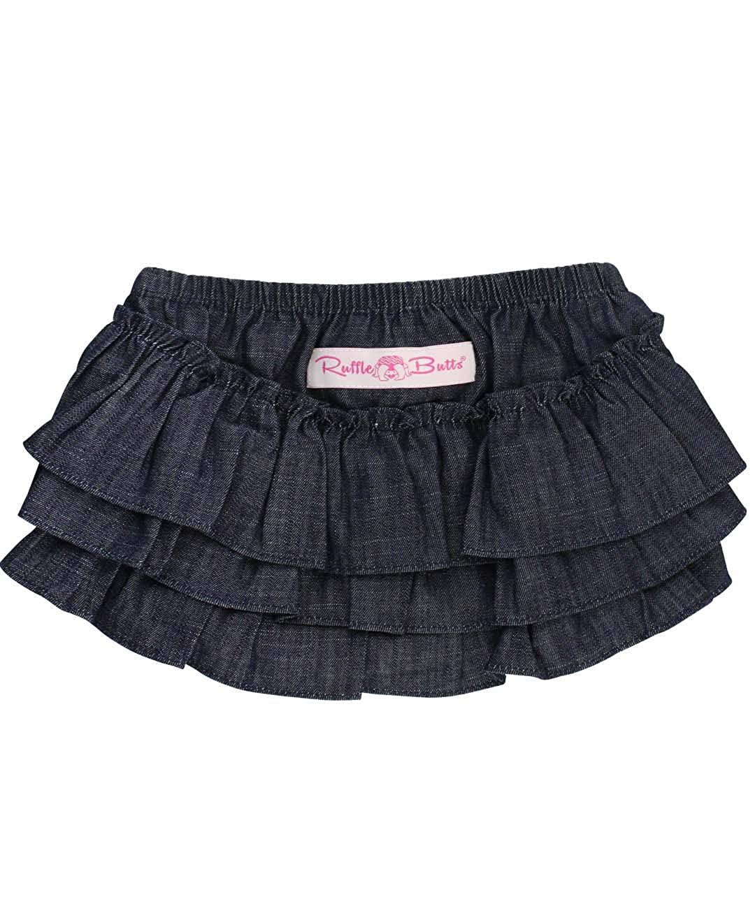 RuffleButts Baby/Toddler Girls Denim Ruffle Skirted Bloomer RBDYYXX-SKRT-SC-BABY
