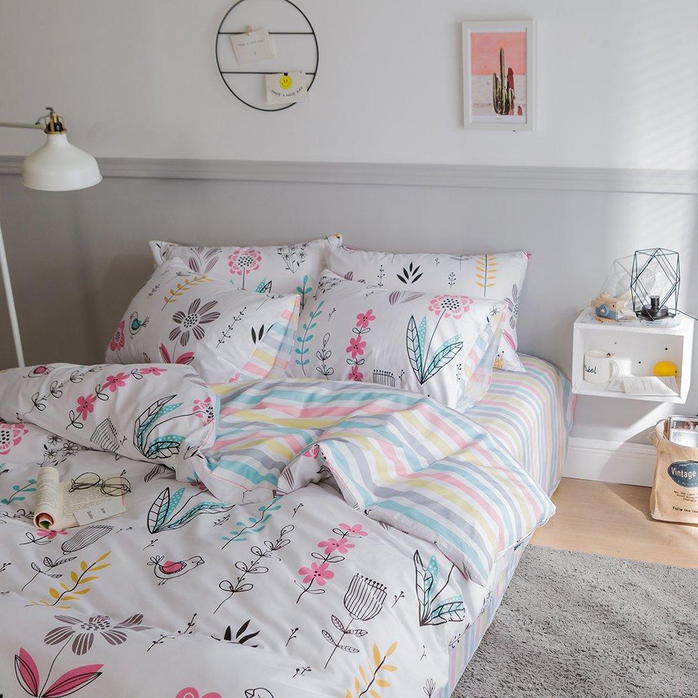 BuLuTu Floral Bird Print Pattern Girls Duvet Covers Queen White Premium Cotton Spring Blossom Colorful Reversible Kids Bedroom Comforter Cover Full Bedding Sets Zipper for Teen Toddler,NO Comforter by BuLuTu (Image #4)