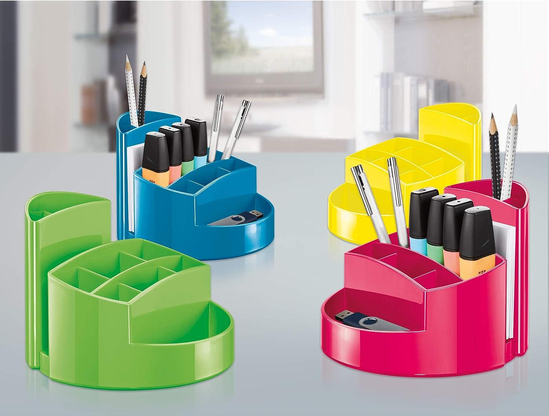 HAN 17460-17 Pot /à crayons RONDO /él/égant qualit/é Premium rouge avec 9 cases haute brillance