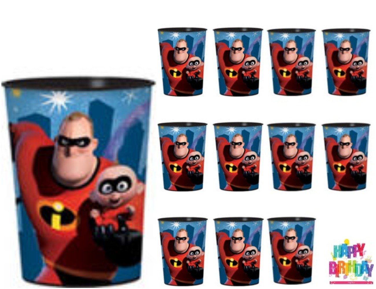 12 - Incredibles 2 Birthday Party Favor Plastic Cups (16oz), and 1 Heydays Happy Birthday Tattoo