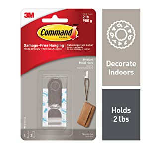 Command 2 lb Capacity Silver Metal Hook, Indoor Use, Medium, Decorate Damage-Free (MR12-SS-ES)