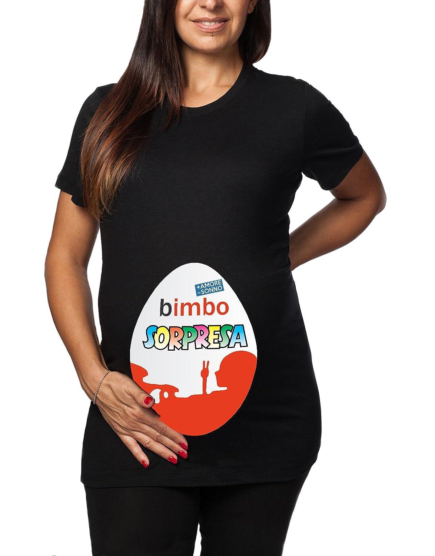 Tshirt lunga da donna ideale per il premaman Bimbo Sorpresa - + amore - sonno - tshirt simpatiche e divertenti - humor t-shirteria