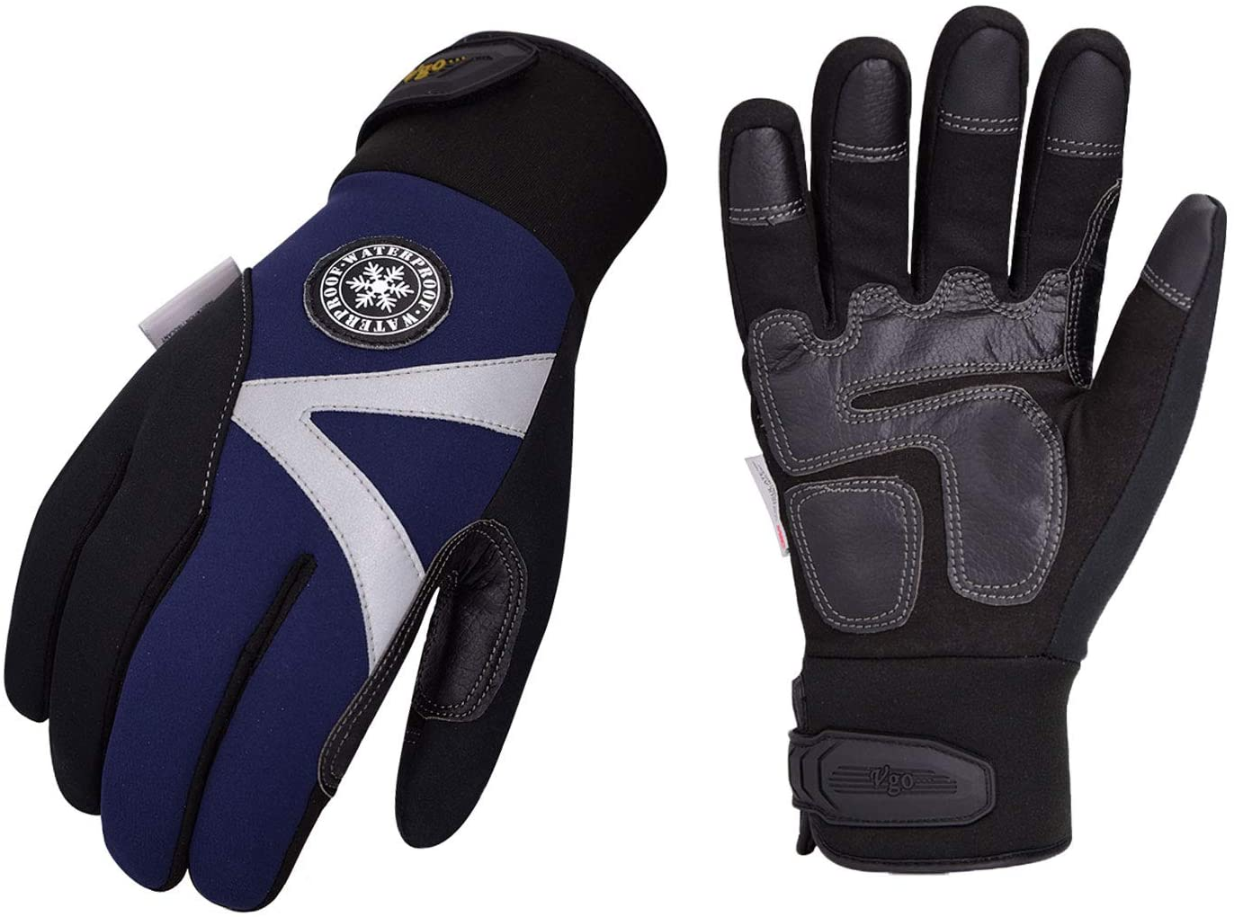 VGO Survival gloves in black, with blue and white details on front and a circle patch with a waterproof mark.