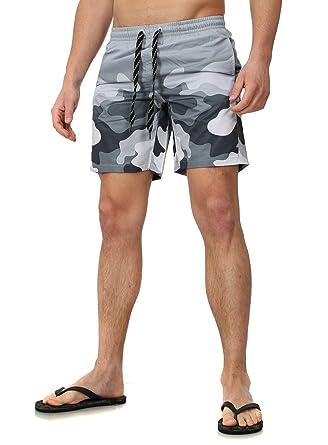 CARISMA Herren Badeshorts Urbino Camouflage Muster mit Eingriffstaschen  Sommerhose Kurze Hose grau XXL  Amazon.de  Bekleidung 5539757d2f
