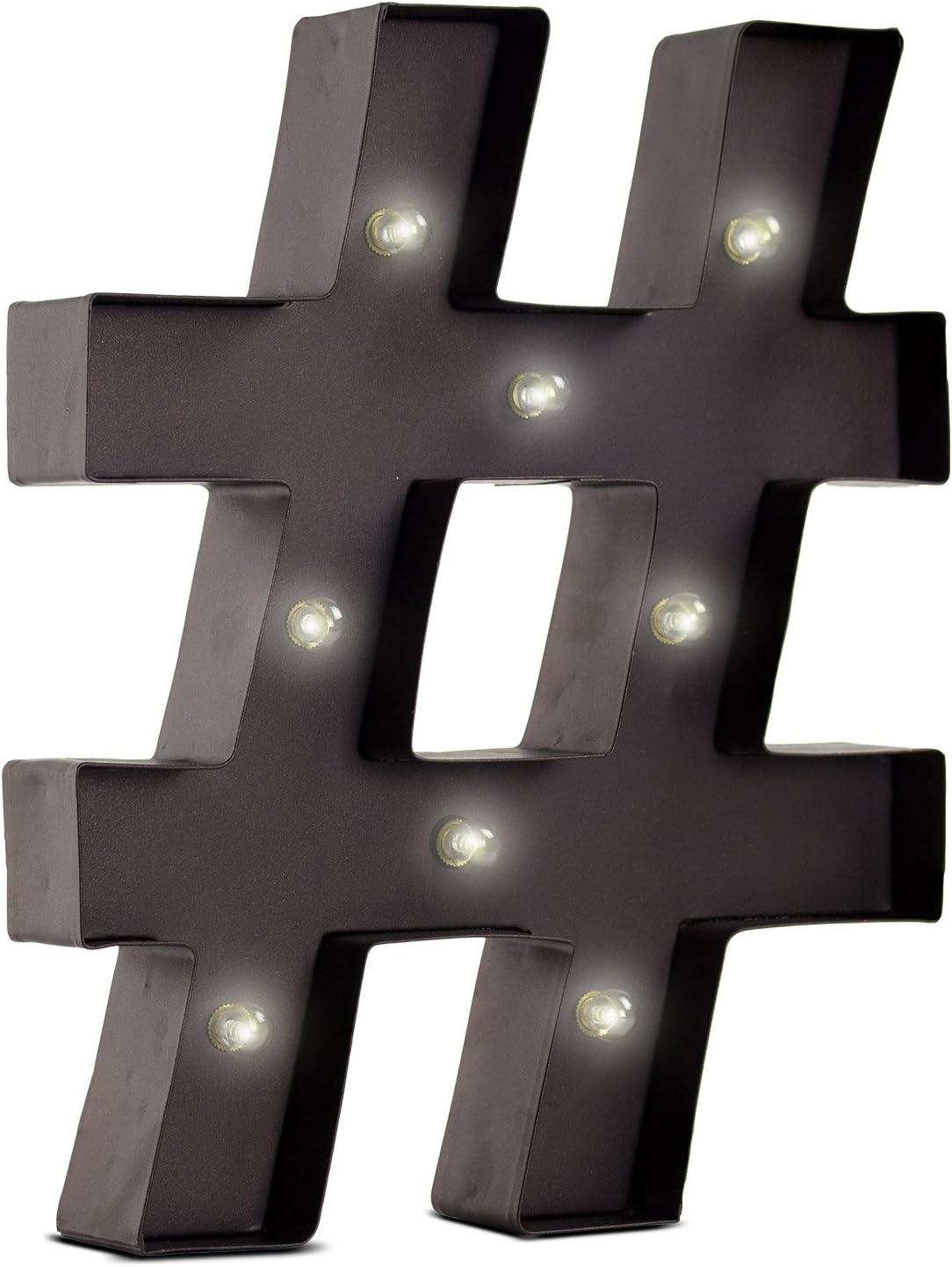 12 Light LED Hash Tag Sign Light Vintage Style Table Top Lounge Light Litecraft