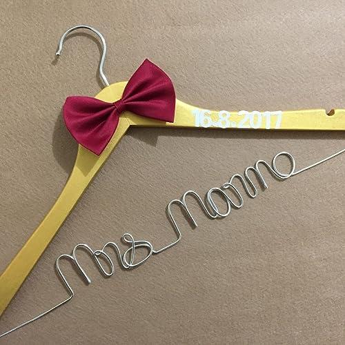 rustic wedding dress hanger custom bridal shower gift bridal hanger personalized bridesmaids gifts bridesmaid