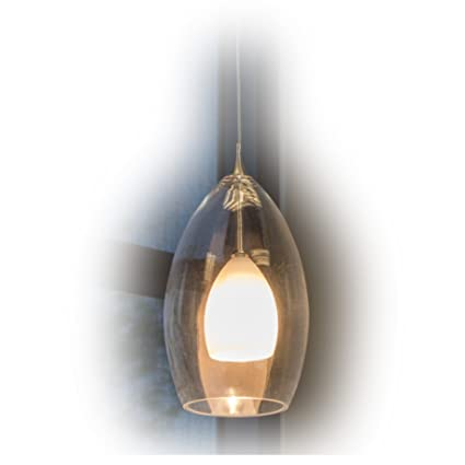 Direct lighting 1 light mini pendant light with clear outer glass and white opal inner