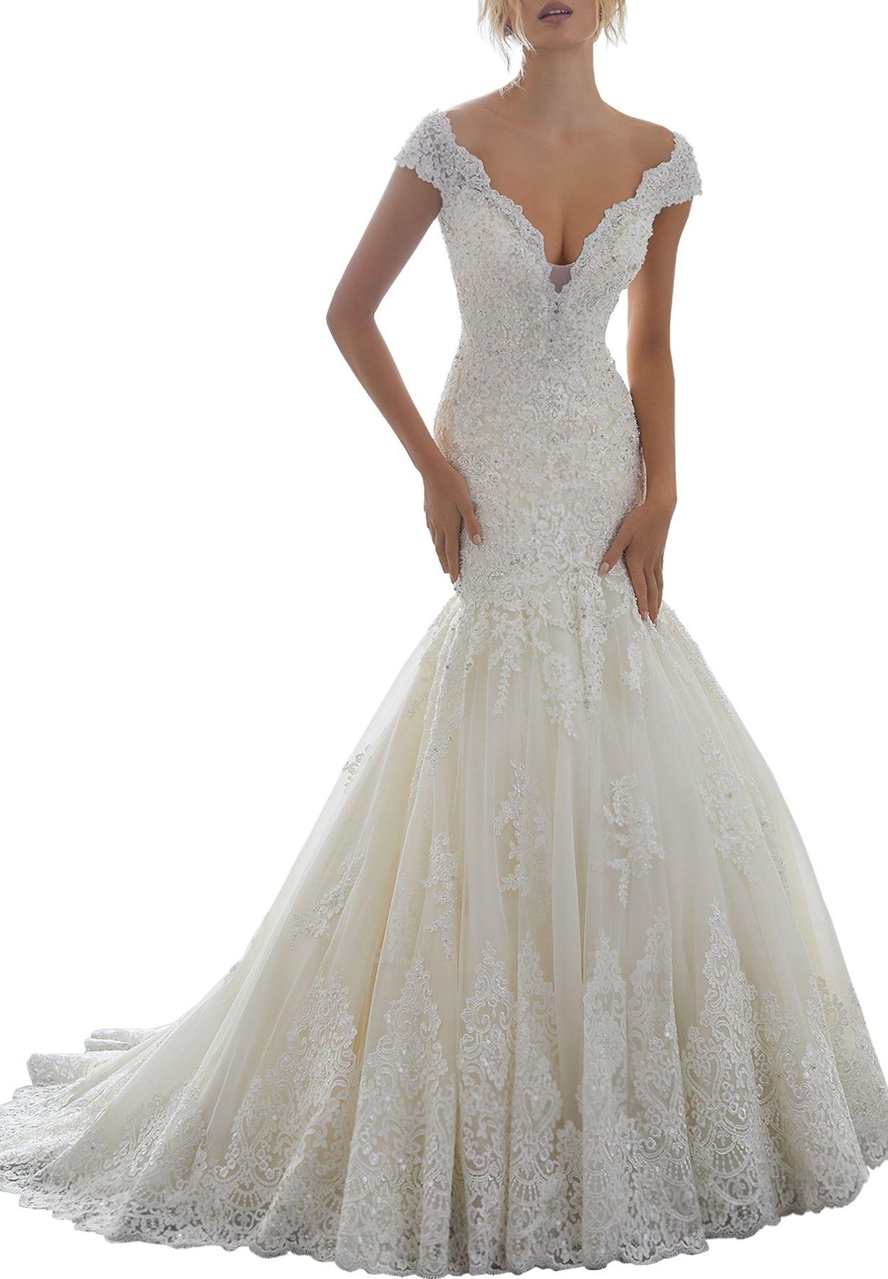 Women's V-neck Off The Shoulder Mermaid Wedding Dresses Bridal Gown 2018 (4,V-Ivory)