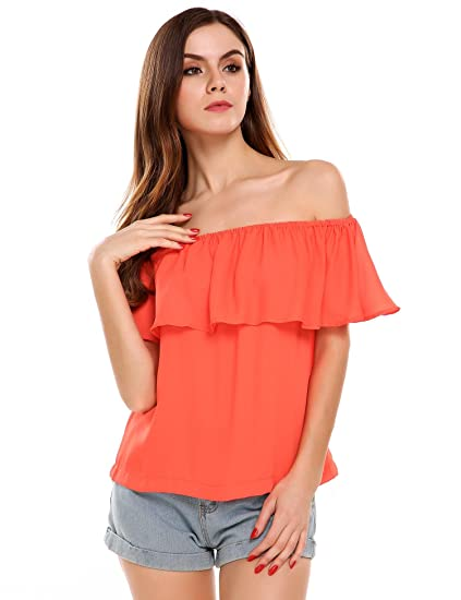 9e999c7ae3d Image Unavailable. Image not available for. Color  Zeagoo Women s Off  Shoulder Pleated Solid Casual Blouse Loose Tops ...