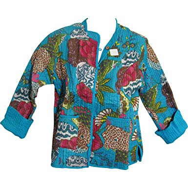82b58c5d Yoga Trendz Reversible Missy Floral Quilted Cotton Outerwear Jacket  Cardigan Blouse JK No10 (Small/