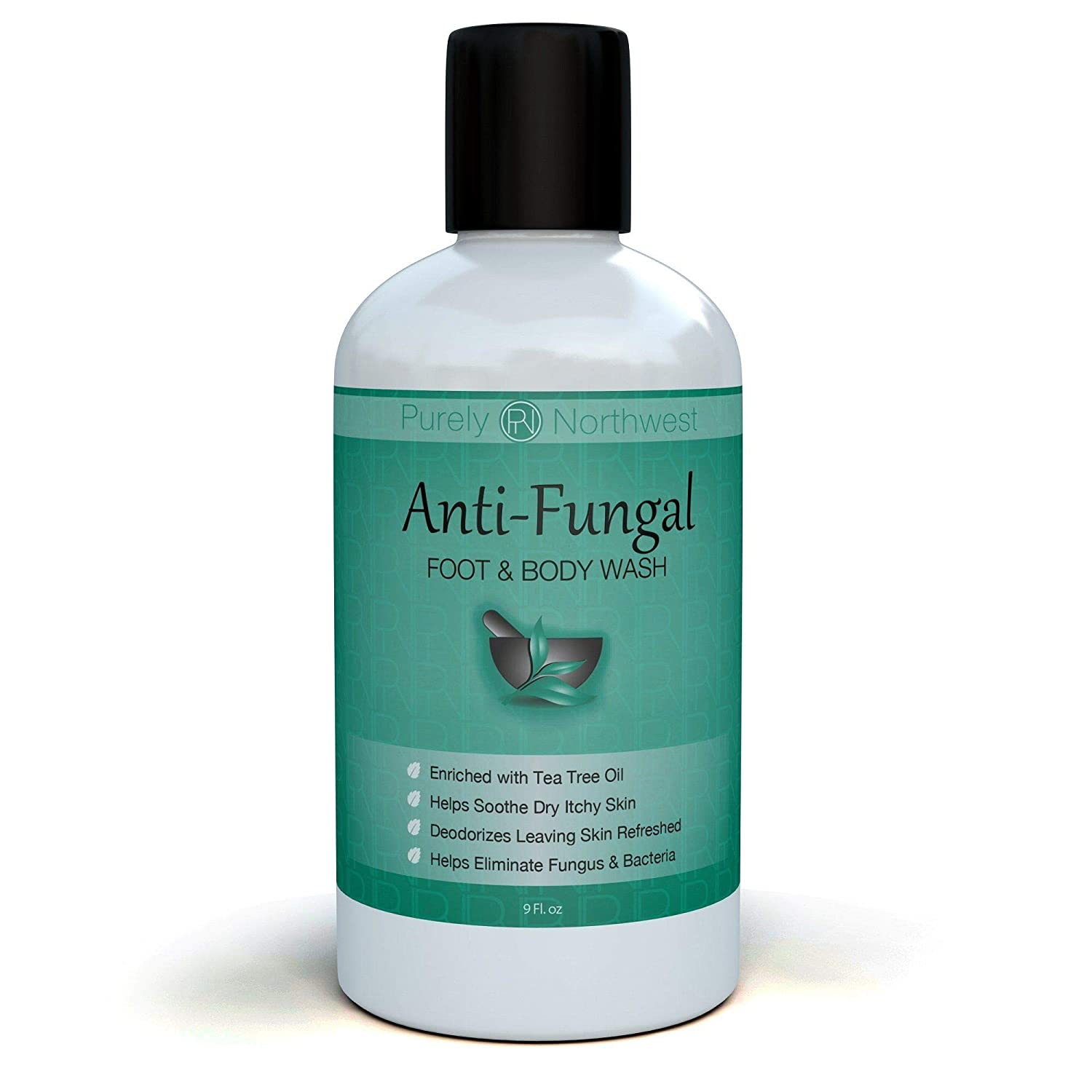 Antifungal Soap with Tea Tree Oil, Helps Treat & Wash Away Athletes Foot, Ringworm, Nail Fungus, Jock Itch, Body Odor & Acne. Antibacterial Defense Against Common Fungal and Bacteria Related Skin Irritations 9oz. Purely Northwest