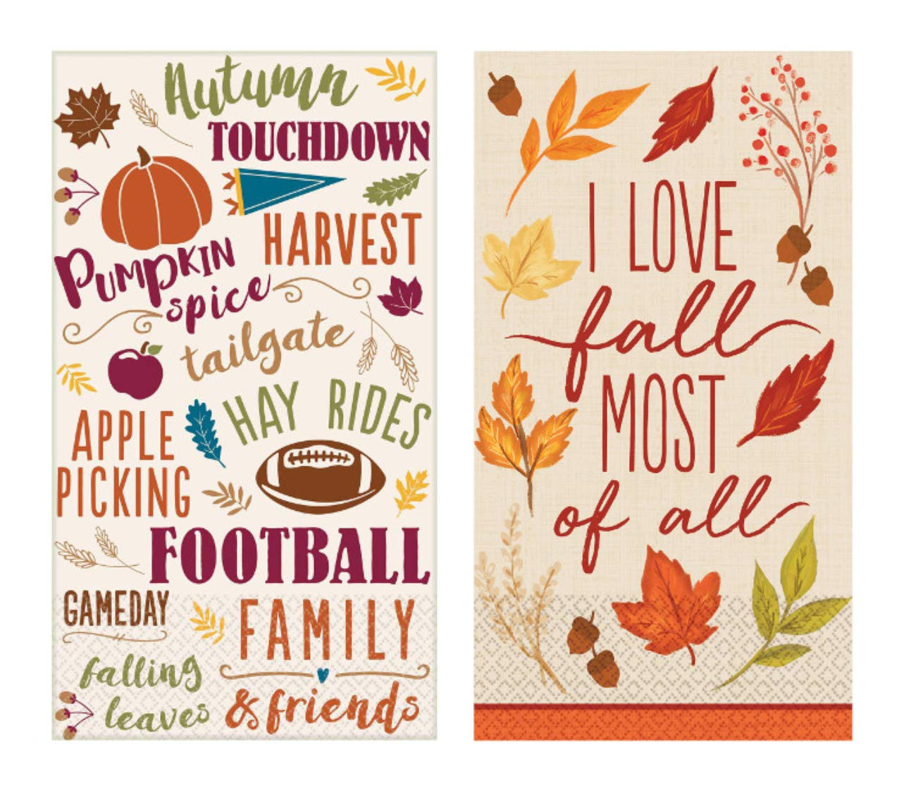Guest Towel Bundle in a Fall Football Theme: Includes (1) 16 Count Fall Foliage and (1) 16 Count Fall Words by PDE Party