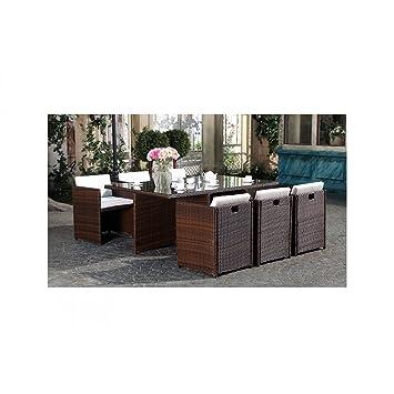 Mon Usine LSR-310-BR/WH 6C Le Vito Salon jardin encastrable en résine  Marron 180 x 115 x 73 cm