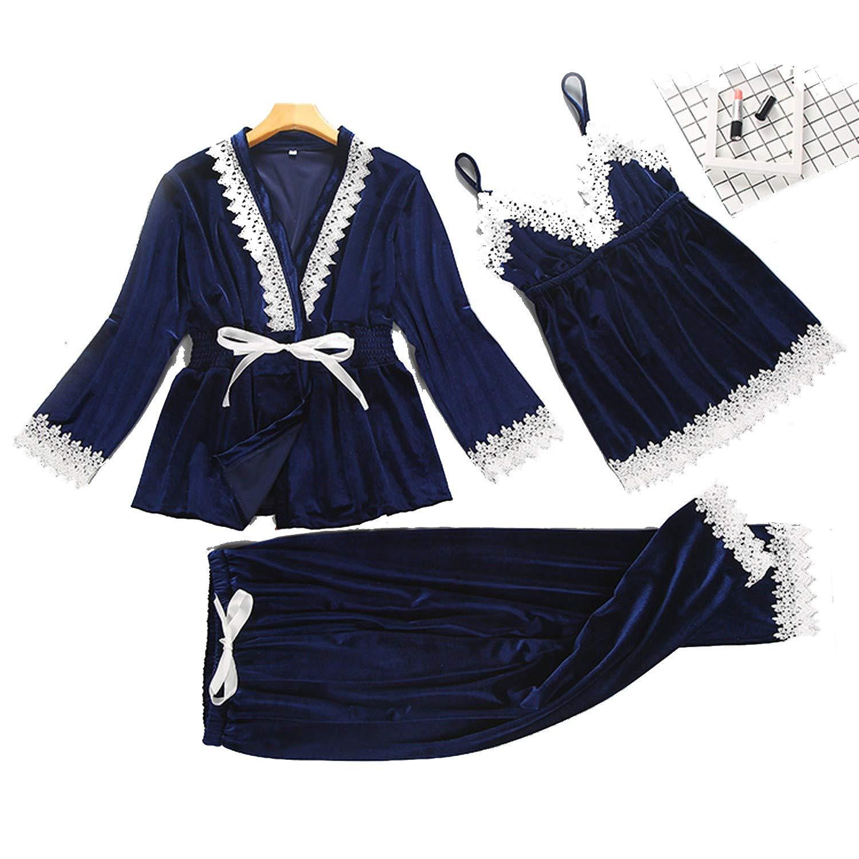 bluee Women Velour Sleepwear Set 3 Pieces Long Sleeve Pajama Set Autumn Winter Pyjama Femme VNeck Pijama Fashion Home Clothing